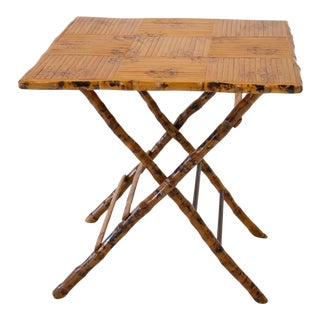 Vintage Bamboo Folding Table For Sale