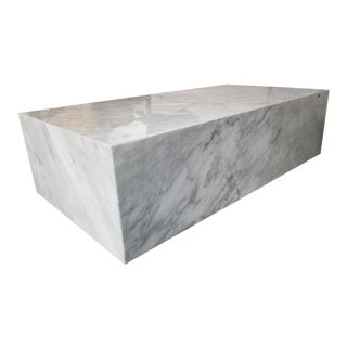 "Italian Restoration Hardware White Marble Plinth Coffee Table 55"" For Sale"
