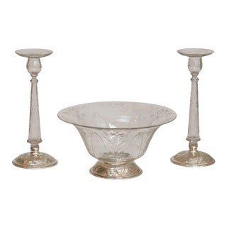 """Signed """"Hawkes"""" Handblown Three-Piece Crystal Centerpiece Set, Sterling Silver For Sale"""