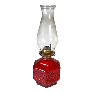Antique Eagle Red Glass Hurricane Oil Lamp For Sale