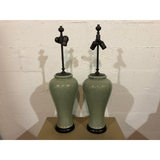 Early 21st Century Contemporary Green Crackle Lamps - a Pair For Sale - Image 5 of 5