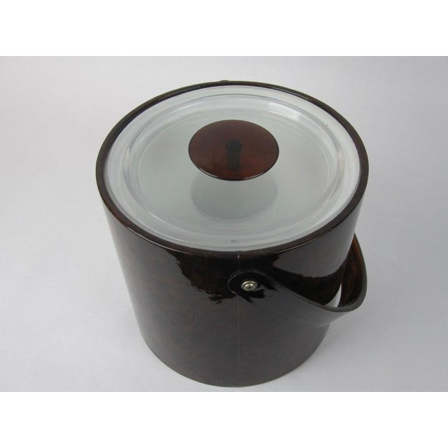 Brown 1960s Vintage Georges Briard Tortoise Finish Ice Bucket For Sale - Image 8 of 9