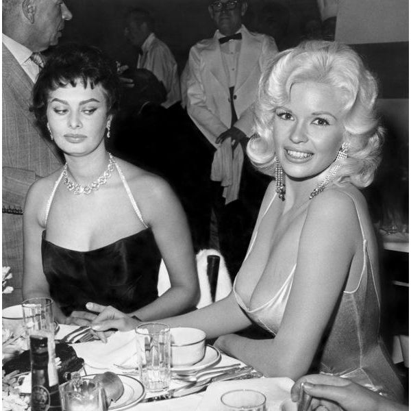 Jayne Mansfield & Sophia Loren Photograph by Joe Shere For Sale