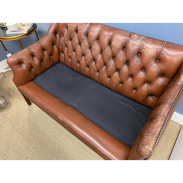 Brown Vintage 1960s Leather Sofa For Sale - Image 8 of 11