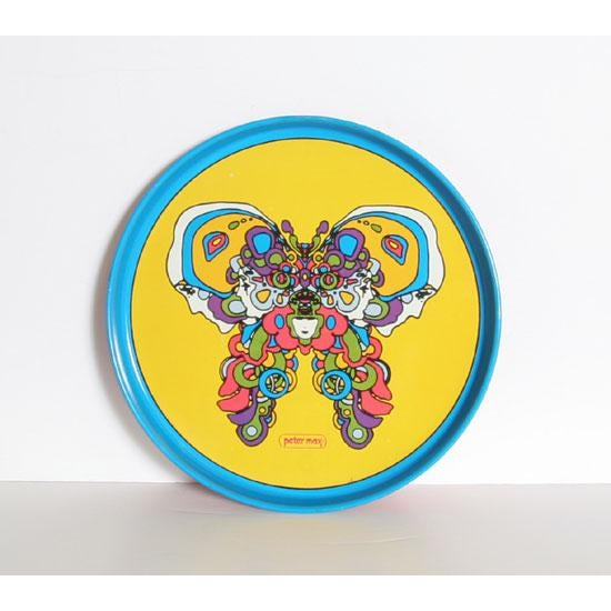Artist: Peter Max Title: Butterfly Tray Medium: Metal Tray Paper Size: 13 inches diameter Price: $750