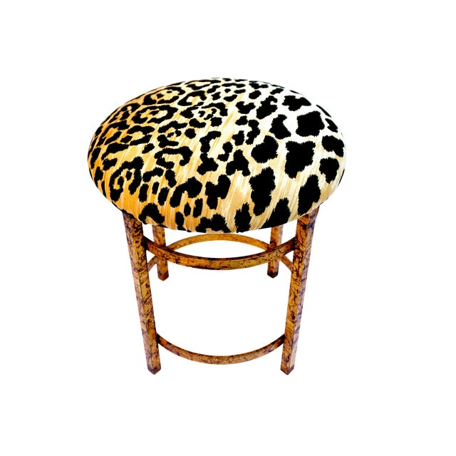 Vintage Italian Gold Gilt & Leopard Velvet Vanity Accent Stool - Image 1 of 7