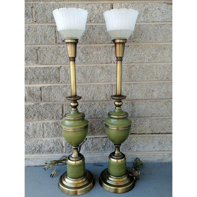 Hollywood Regency Vintage Rembrandt Brass & Green Enamel Hollywood Regency Table Lamps With Diffuser - a Pair For Sale - Image 3 of 13