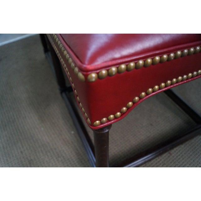Quality Burgundy Leather English Regency Ottoman - Image 2 of 10