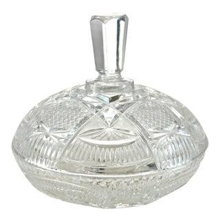 Antique Cut Crystal Lidded Bowl For Sale