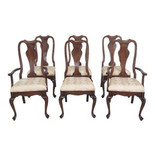 1990s Vintage Harden Cherry Queen Anne Dining Room Chairs- Set of 6 For Sale