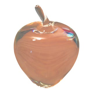 Vintage Steuben Crystal Signed Apple Paperweight For Sale