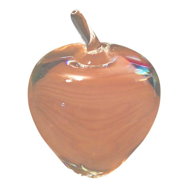 Vintage Steuben Crystal Signed Apple Paperweight For Sale