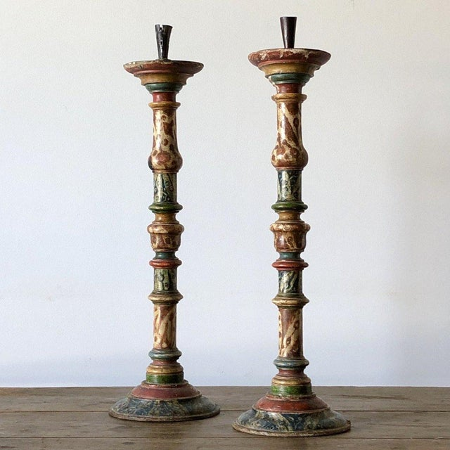 Pair of Turned Faux Painted Candlesticks For Sale - Image 9 of 9