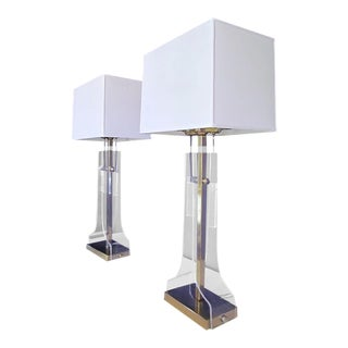 Lucite and Brass Plated Laurel Lamps- a Pair