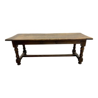 Exceptional Antique Large French Oak Farmhouse Dining Table For Sale