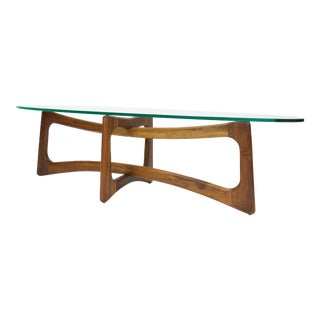 1950s Mid Century Modern Adrian Pearsall Glass Top Coffee Table For Sale