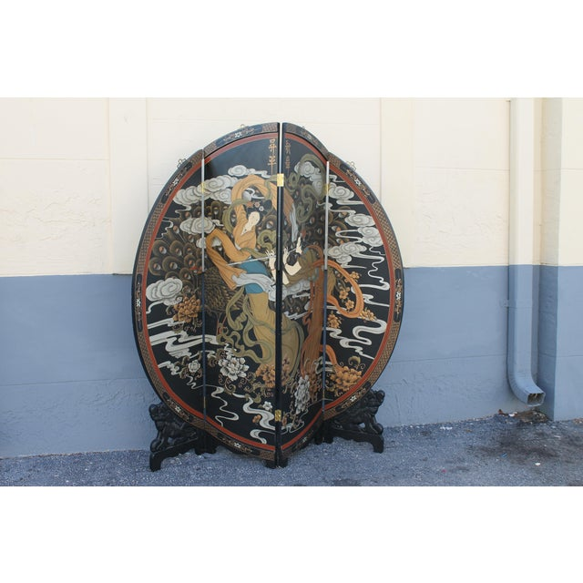 Art Deco Oriental Round Carved Base/ Detailed Room Dividing Screen For Sale - Image 10 of 13