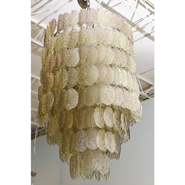 Monumental Italian Modern Amber Glass Chandelier by Mazzega - Image 9 of 10