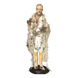 Italian Santos Carved Wood Figure For Sale