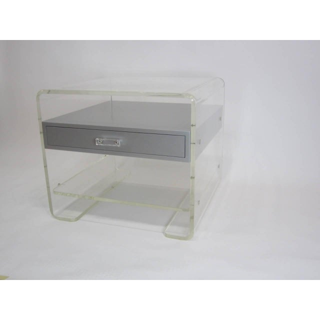 Lucite Side Table with Silver Metallic Drawer - Image 2 of 6