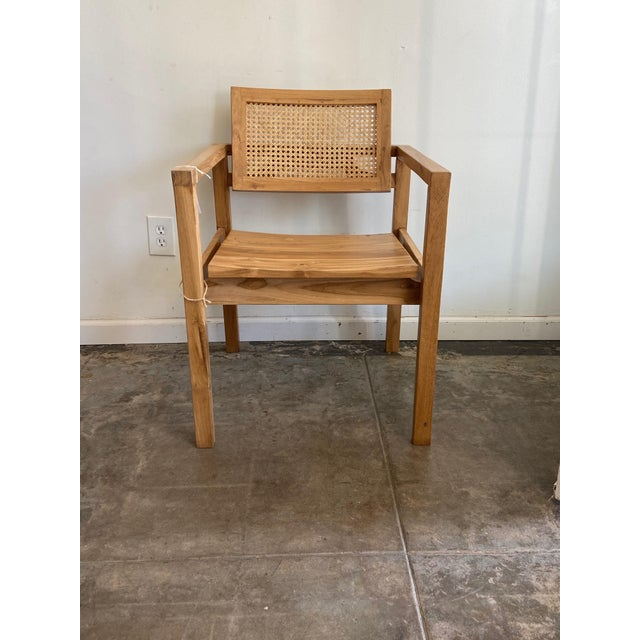 Wicker Natural Teak Woven Cane Back Chair For Sale - Image 7 of 7
