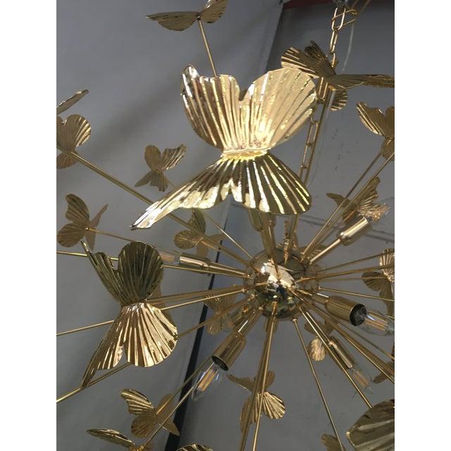 Italian Hand Made Gold 24k Butterfly Sputnik Chandelier For Sale - Image 9 of 13