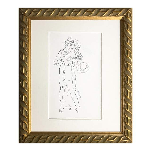 Abstract Figurative Nude Drawing of Couple by Richard Ericson For Sale