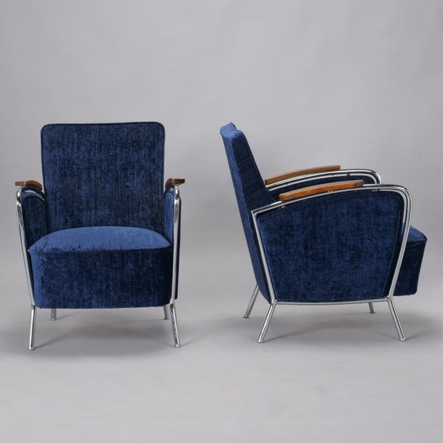 Pair Bauhaus Steel and Wood Club Chairs For Sale - Image 4 of 11