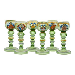 19th Century Bohemian Historismus Armorial Enamel Goblets - Set of 6 For Sale