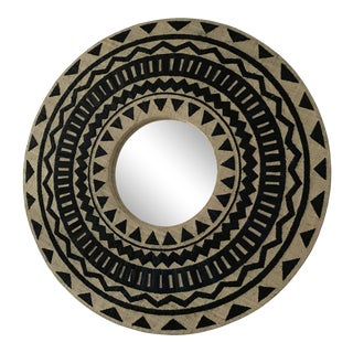 Tribal Chic Round Grasscloth Mirror For Sale