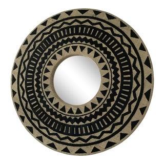 Tribal Chic Round Grasscloth Mirror
