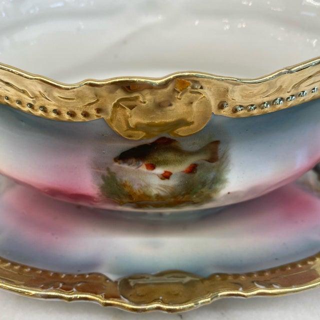 Ceramic German Porcelain Handpainted Gold Gilt Fish Serving Set -Set of 15 For Sale - Image 7 of 13