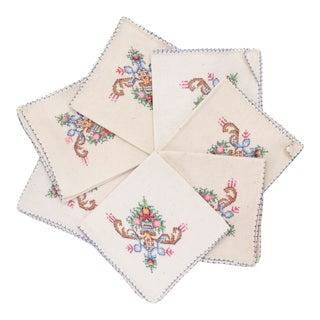 Hand-Embroidered Cross Stitch Linen Napkins, Set of 7 For Sale