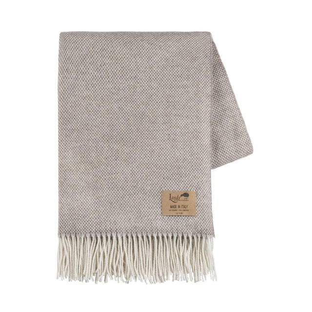 Transitional Taupe Juno Cashmere Throw For Sale - Image 3 of 3