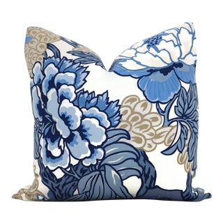 Blue and TanFloral Decorative Pillow Cover in Thibaut Honshu For Sale