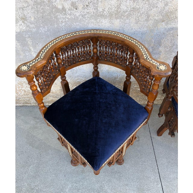 1950s Vintage Moroccan Mother of Pearl Velvet Corner Chairs - A Pair For Sale - Image 9 of 12