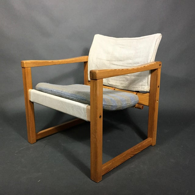 "Karin Mobring ""Diana"" Armchair, Pine & Canvas, Sweden 1970s For Sale - Image 12 of 12"