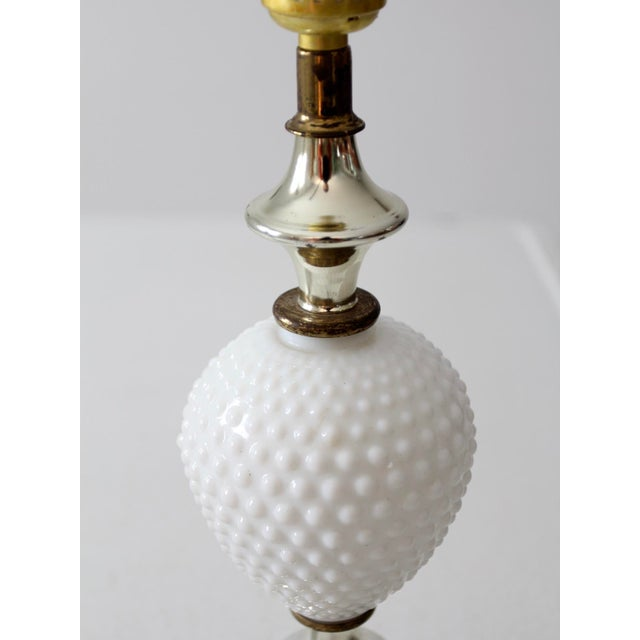 Vintage Milk Glass Hobnail Table Lamps - a Pair For Sale - Image 6 of 8