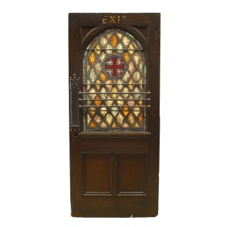 English Gothic Oak and Leaded Glass Door For Sale