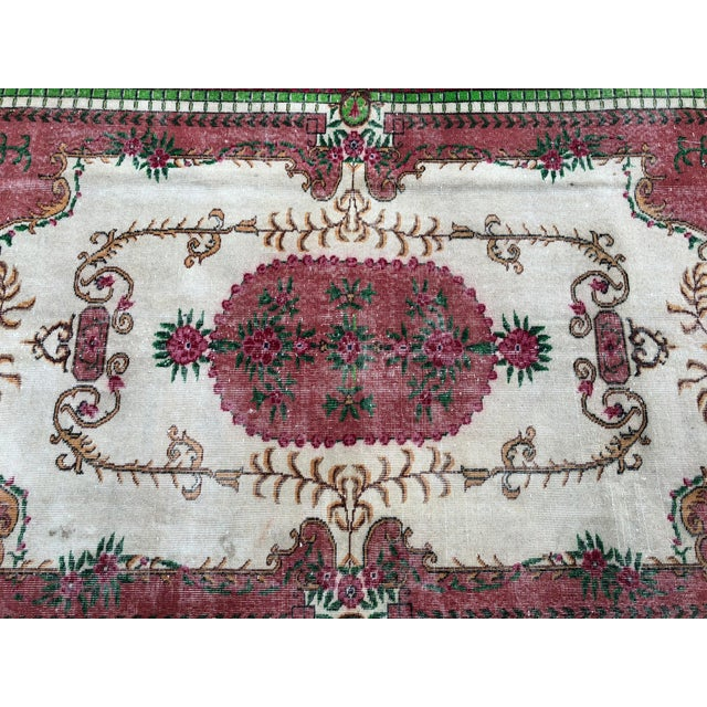 Ruby Red 1960s Vintage Turkish Rug - 5′4″ × 9′2″ For Sale - Image 8 of 10