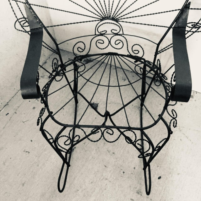 Black Wrought Iron Peacock Rocking Chair For Sale - Image 8 of 11