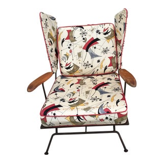 Vintage Mid Century Wrought Iron Wing Chair For Sale