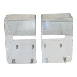 Crate & Barrel Acrylic Book Carts- a Pair For Sale