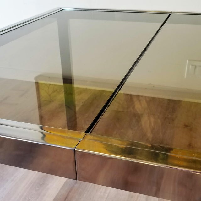 DIA - Design Institute America 1970s Milo Baughman Square Chrome and Smoked Glass Dining Table For Sale - Image 4 of 12