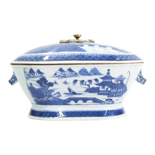 Early 19th Century Blue and White Chinese Canton Tureen For Sale