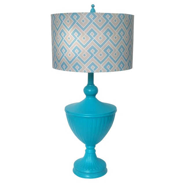 Hollywood Regency Turquoise Urn Table Lamp For Sale