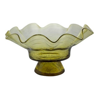 Ruffled Shape Blenko Bowl For Sale