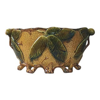 Late 19th Century Vintage French Majolica Chesnuts Jardinière For Sale