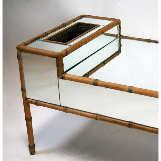 Hollywood Regency Hollywood Regency Faux Bamboo Mirrored Coffee Table For Sale - Image 3 of 6