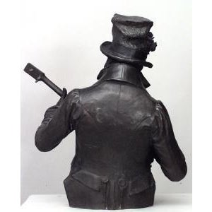 Americana American Victorian style (late 19th Cent) metal bust of black banjo player wearing top hat with flowers on oval base (signed P. CALVI) For Sale - Image 3 of 9